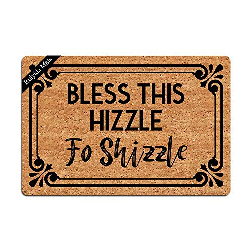 Entrance Mat Bless This Hizzle Fo Shizzle Funny Doormat Decorative Indoor Non-Woven 23.6 by 15.7...