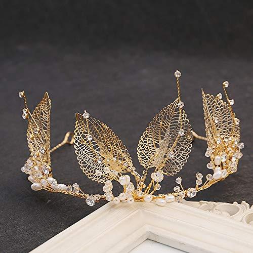 Hoja Tiara Rhinestone Crown Crystal Pendente Pendiente Joyería Pelohoop Hecho A Mano para Boda Niñas Princesa Proms Pageants Fiestas Regalo De Cumpleaños (Color : Silver)