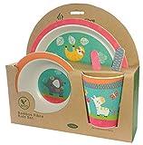 Vajilla de bambú bebé e Infantil, Material ecológico sin BPA Animales, Apto para lavavajillas (Animales)
