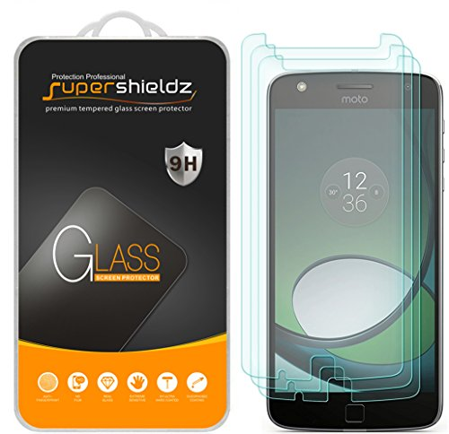 (3 Pack) Supershieldz Designed for Motorola Moto Z Play and Moto Z Play Droid Tempered Glass Screen Protector, Anti Scratch, Bubble Free