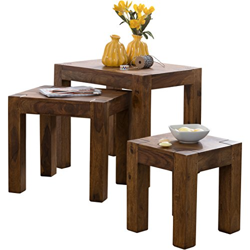 Wohnling WL1.212 Table Basse en 3 Parties Bois de sheesham Massif