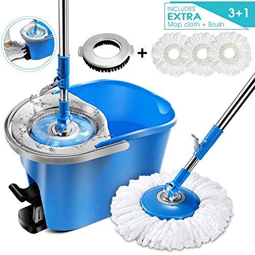 MASTERTOP Magic Spin Mop and Bucket Set with 3 Pcs Refill Mop Pads 1Pcs Brush Head Foot Pedal Microfiber Mop