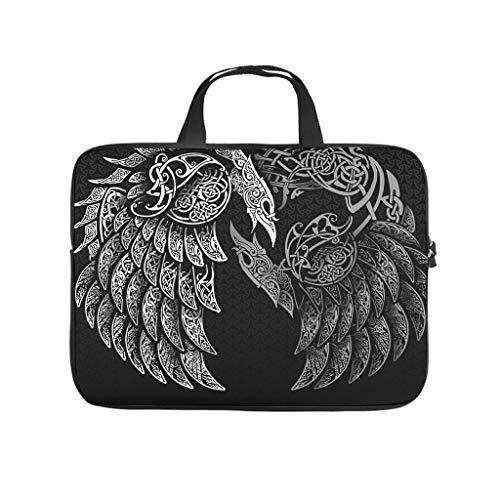 Facbalaign Bolsa para portátil con diseño de cuervos vikingos Mythos, para hombre y mujer, duradera, de alta calidad, con asa.