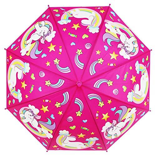 Unicorn Kids Paraguas plegable Gift Folding Boys Girls Character Umbrellas (Rose)