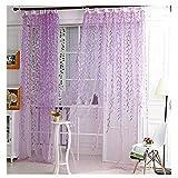Fenstersiebung SUCES 1er Pack Transparent Gardine Schlaufen Vorhang aus Willow Voile Stickerei Schlaufenschal Dekoschal für Wohnzimmer Schlafzimmer Studierzimmer 1Mx 2M (Purple)