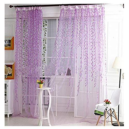 Fenstersiebung SUCES 1er-Pack Transparent Gardine Schlaufen Vorhang aus Willow Voile Stickerei Schlaufenschal Dekoschal für Wohnzimmer Schlafzimmer Studierzimmer 1Mx 2M (Purple)