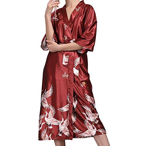 Morbuy Damen Morgenmantel Kimono Satin Kurz Nachtwäsche Bademantel Robe Schlafanzug Mit Vogel und Luxuriös V Ausschnitt Mit Gürtel Nachthemd Negligee Nachtwäsche Pyjama (M, Rotwein)