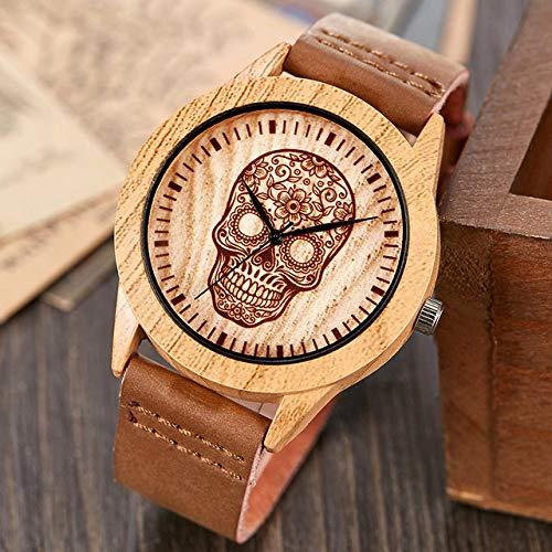 LOPIXUO Reloj Vintage de imitación de Madera, Caballo, Hombres, Mujeres, imitación, Reloj de Pulsera de Madera, Banda de Cuero Suave, Reloj de Pulsera de Cuarzo Masculino, Calavera para Hombres