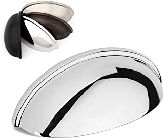 Koofizo Bin Cup Drawer Pull - Polished Chrome Cabinet Handle, 76mm / 3 Inch Screw Spacing (5 Pack) for Kitchen Cupboard Be...