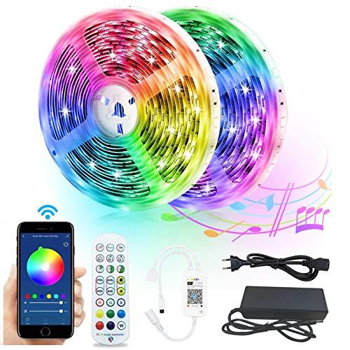 WiFi LED Strip, 10m(2x5m) Alexa LED Streifen Lichterkette, Smart Band Lichter IP65 Wasserdicht, RGB Lichtleiste mit Fernbedienung, App-Steuerung, Musik Sync, Kompatibel mit Alexa, Google Assistant