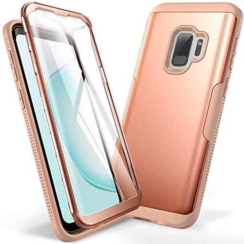YOUMAKER - Funda para Samsung Galaxy S9 de 5,8 pulgadas (2018, incluye protector de visualización integrado, resistente a los golpes, ajuste delgado, carcasa completa para Samsung Galaxy S9 de 5,8 pulgadas), Rosado
