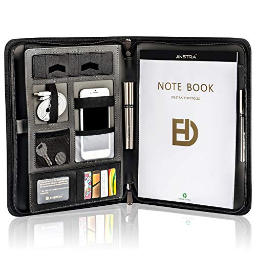 Zippered Portfolio Organizer Resume Portfolio Folder by Jinstra Business PU Leather Padfolio Folder for Ipad with Free Legal Writing Pad Holder, Interior 10.2 inch Tablet Sleeve