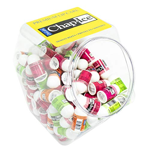Chap-Ice | Assorted Mini Lip Balm with Fishbowl  Includes Cherry, Citrus-Orange and Kiwi-Lime - 120 count