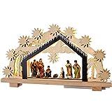 WeRChristmas Décoration de Noël en Bois Décoration de crèche de Noël illuminé avec 8LED Blanc Chaud