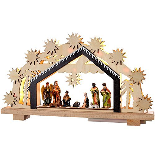WeRChristmas Pre-Lit Wooden Nativity Scene Illuminated with 8 Warm LED Lights, 26 cm - Large, Multi-Colour