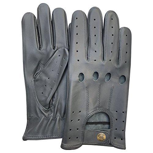 Classique pour Homme en Cuir Nappa de vachette véritable Conduite Moto robe fashion gants Paire 507Gris éléphant Gris petit