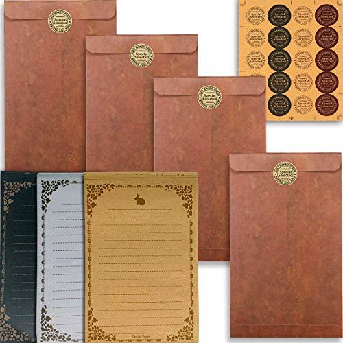 Lot de 45 enveloppes de papier papeterie vintage, Papier à Lettre Vintage et Enveloppe,L'ensemble de Papeterie Vintage,24 feuilles de papier à lettres, 20 enveloppes,1 autocollants autocollants
