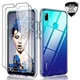 LeYi Cover Huawei P Smart 2019/Honor 10 Lite con Vetro Temperato [2 Pack], Custodia Trasparente Silicone Hard PC Morbida TPU Gel Bumper Ultra Slim Morbida Antiurto Case per Telefono P Smart 2019,Clear