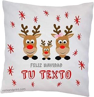 Cojin navideño familia renos. 40x40 cm, incluye relleno. Idea original decoración personalizado. Regalo amigo invisible