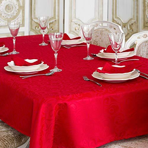 BGEUROPE Mantel de Mesa Rojo Tratamiento Antimanchas. Tamaños Grandes Ref. Lyon, Rojo, 59 x 137 (150 x 350cm)