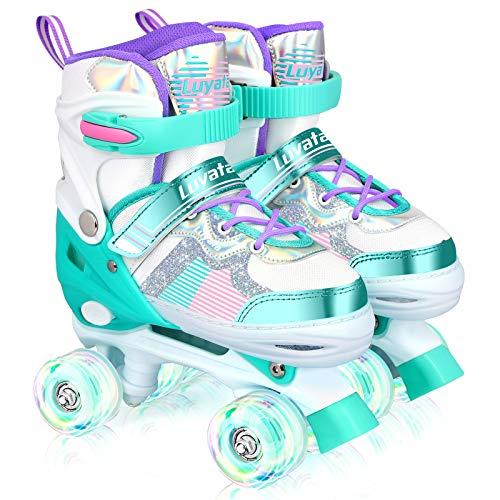 Roller Skates for Kids Boys Girls, 4 Sizes Adjustable Roller Skates with Light Up Wheels for Children (Medium, Green)