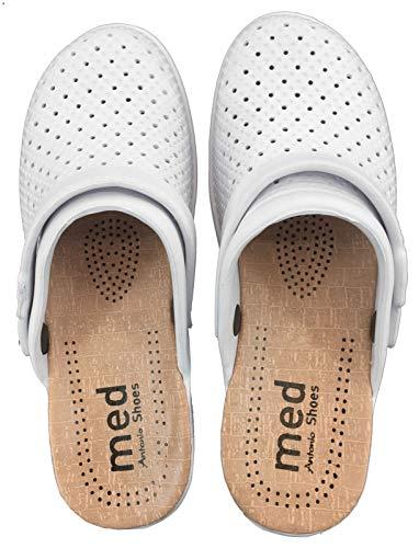 Damen Clogs Foam 36 Weiß Hausschuhe Sommer Slipper 5 cm Absatz Pantoffeln mit bequemer schockabsorbierender Sohle