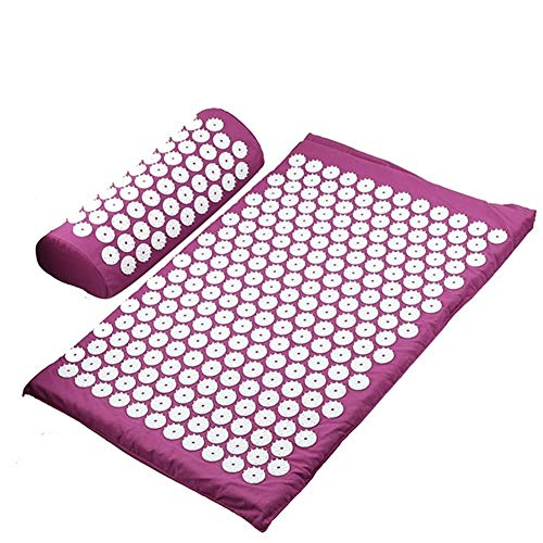 ZQALOVE Massagekissen Massage Yoga-Matte Akupressur Stress abzubauen Zurück Körperschmerzstachel Mat Akupunktur-Massage-Yoga-Matte (Color : Purple Set no Bag)