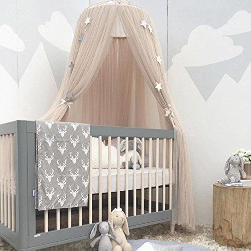 Rideau de lit pour chambre d'enfant - Décoration de chambre de princesse - Ciel de lit pour bébé - Moustiquaire ronde - 1 pièce - Kaki