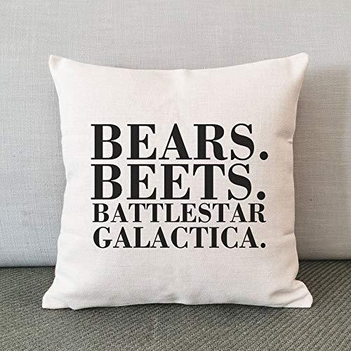 Promini Funda de almohada decorativa de la oficina, diseño de ositos, remolachas, Battlestar Galactica, funda de almohada de lino, funda de cojín con cita de Michael Scott, 45,7 x 45,7 cm