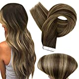 Fshine Tape in Real Hair Extensions 24 Inch Ombre Brazilian Hair Extensions Human Hair Dip Dye Color 2 Fading to 3 and 27 Tape in Hair Extensions Pastel Hair Extensions 50 Grams 20 Pcs