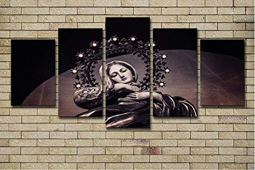 DOORWD Impresión de 5 Piezas Cuadro en Lienzo Virgen María Material Tejido no Tejido impresión artística Imagen gráfica Decoracion de Pared 150x80cm