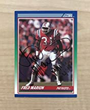 FRED MARION NEW ENGLAND PATRIOTS SIGNED AUTOGRAPHED 1990 SCORE CARD #39 W/COA