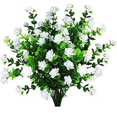 Artificial Plants Flowers Fake Plants For Decoration Outdoor UV Resistant Faux Plastic Greenery Shrubs Bushes Outside Hanging Planter Home Decor Indoor Garden Window Box Patio Office Wedding white