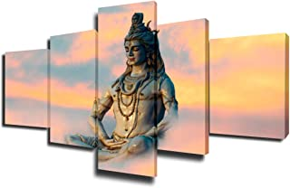Indian Wall Decorations for Living Room Shiva God Paintings Pictures 5 Piece Canvas Wall Art Modern Artwork Home Decor for Living Room Framed Gallery-wrapped Stretched Ready to Hang(50''Wx24''H)