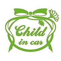 imoninn CHILD in car ステッカー 【シンプル版】 No.29 お花リボン (黄緑色)
