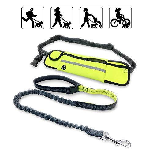 Waist Pet Leash Outdoor Running Free-Hand Adjustable Waist Belt Waterproof and Nylon Retractable Dog Leash Suitable for Most of Dogs (Green)