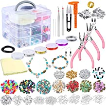 PP OPOUNT Deluxe Jewelry Making Supplies Kit Includes Assorted Beads, Charms, Findings, Bead Wire and Cord, Pliers, Caliper and Storage Case for Necklace, Bracelet, Earrings Making