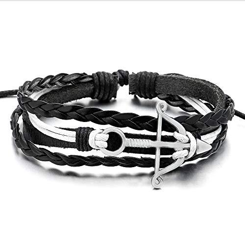 COOLSTEELANDBEYOND Pfeil und Bogen Weiß Schwarz Leder Baumwolle Armband, Multi-Strang Herren Damen Wickeln um Strap Schweissband Armreif