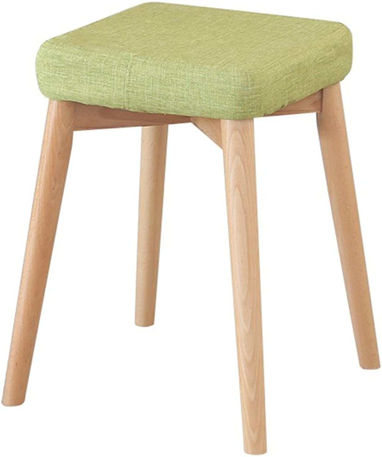 European Chair Solid Wood Dining Stool, Simple Small Stool Fashion Creative Makeup Stool Bench Fabric Stool (color   C)