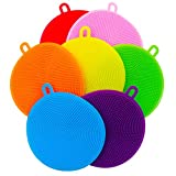 [Pack of 7] Silicone Dish Sponge - Silicone Sponges for Dishes Antibacterial BPA Free- Dish Washing Brush Scrubber Food-Grade - Dish Silicone Sponge - Silicone Scrubber kitchen gadgets