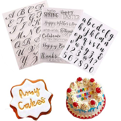Chagoo Silikon Alphabet Biscuit Stamper, Alphabet Kuchenstempel Werkzeug(3 Stück Stempelwerkzeug + 1 Stempelplatte), Kuchen-stempel, Werkzeug, Keks-stempel