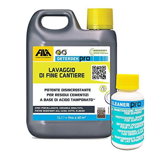 Fila Deterdek pro 1 lt + Fila cleaner pro 40 ml omaggio per la pulizia di fine cantiere e la manutenzione di pavimenti e rivestimenti