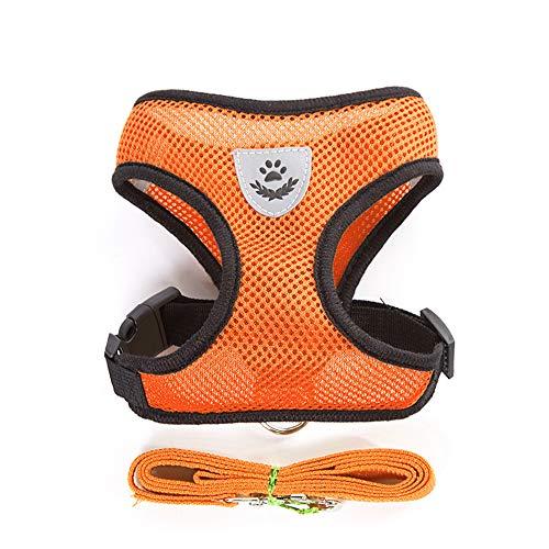 boolpert Comfortable Dog Vest Mesh Fabric Breathable Cat Pet Harness Collar Puppy Vest Dog Leash(L,Orange)