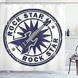 ABAKUHAUS La música Rock Cortina de Baño, Sello Sun de la Vendimia, Material Resistente al Agua Durable Estampa Digital, 175 x 200 cm, Azul Cobalto