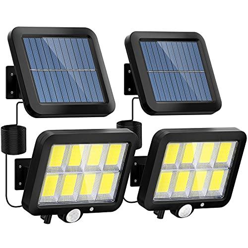 Solarlampen für Außen, LANSOW 160 LED Solarleuchten mit Bewegungsmelder, IP65 Wasserdichte Aussenleuchte, 180°Beleuchtungswinkel, 3 Modi 2400 mAh Solar Wandleuchte für Garten mit 5M Kabel(2 Stück)…