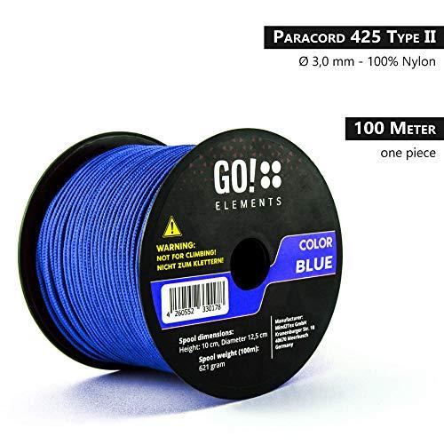 GO!elements 100m Cuerda Paracord de Nylon Resistente al desgarro - 3mm Paracord 425 Tipo II líneas como Cuerda para Exteriores, Cuerda para Todo Uso - línea de Nylon MAX. 192kg, Color:Azul