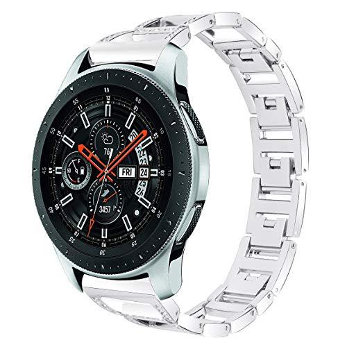 NikoStore Bands für Samsung Galaxy SM R800,Silber Damen Edelstahl Sport Bling Uhr Armband für SM R800/Gear S3 Frontier/Classic