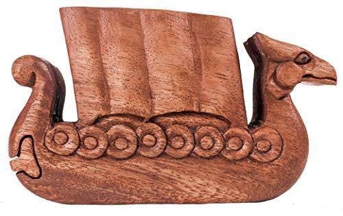 WINDALF Schmuckkästchen NORTHWIND b: 13.5 cm Zauberdose Drachenboot Handarbeit aus Holz