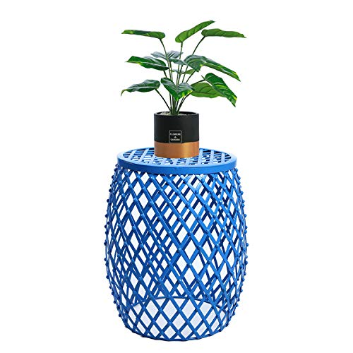 Adeco CH0146 me Garden Accents Wire Round Iron Metal Stool Side End Table Plant Stand Chair, Hatched Diamond Pattern, for Indoor Outdoor, Sea Blue