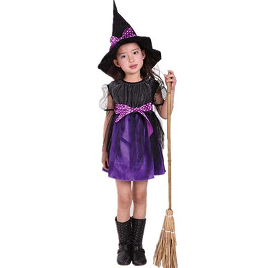 Dream Room Toddler Kids Baby Girls Witch Dress Up Halloween Children Performing Clothes Costume Dress Party Dresses+Witch Hat